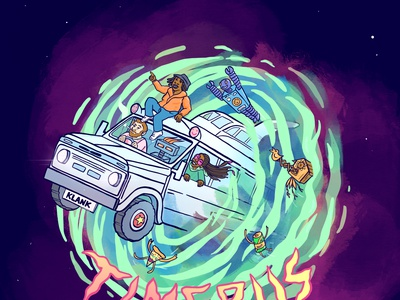 Timebus - Concept Art sci fi magic bus galaxy vortex psychedelic art illustration spacey surreal character design concept concept art
