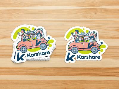 karshare sticker mockup cartoon logo colourful people logo car share people cars car company illustration