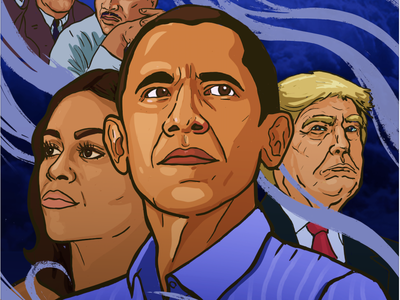 Dreams from my father cover character design illustrator dreams portrait illustration trump obama