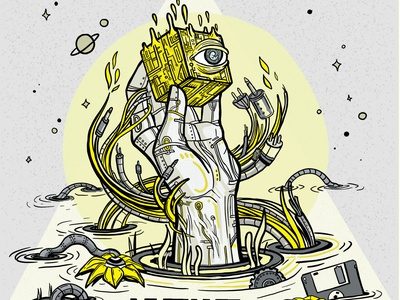 Mutant Thoughts Album Cover dune bionic hand robot illustration psychedelic surreal bionic album cover