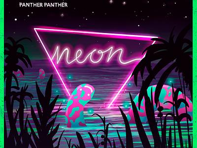 Neon Album Cover music artwork surrealist tropical nightlife fluor neon festival music art