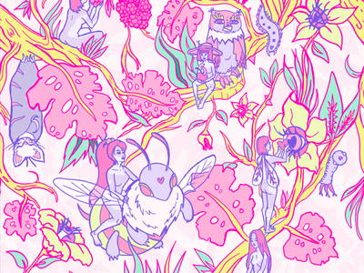 Pattern design for festival clothing brand colourful surrealism illustration fantasy thumberella clothing design clothing brand festival pattern girly pattern psychedelic pattern pattern design pattern art pattern