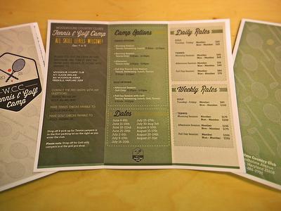 Wcc Golf And Tennis Camp Brochure golf tennis camp background club racket brochure