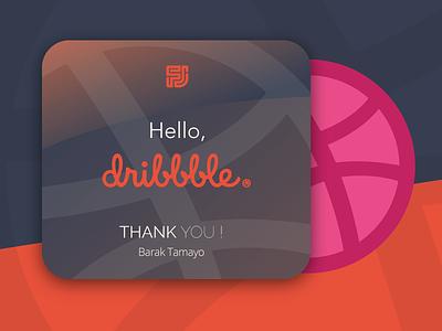Hello, Dribbble! thank you hi hey respect card thanks design hello debut