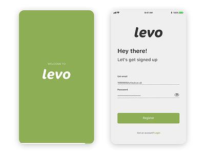 Levo Splash/Signup welcome hello login form register up sign signup xd design ux ui