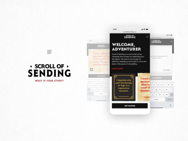 Scroll of Sending - Mobile Website post poster send scroll rpg responsive website web site page mobile dd dnd design branding app