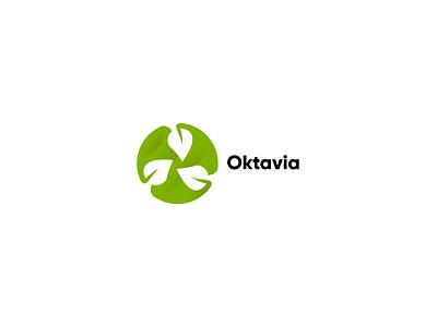 Oktavia leaf logo leaf leafs typography illustration vector logo inspiration logo design illustrator logotype design logo