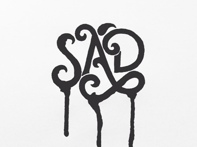 Sad expressive ink sad tear inktober black and white bw handlettering typography lettering