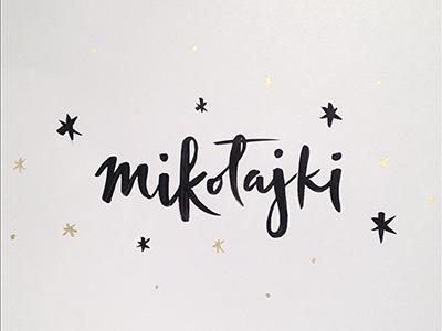 St Nicholas Day festive winter nicholas polish snowflake star christmas mikolajki bw brush typography lettering