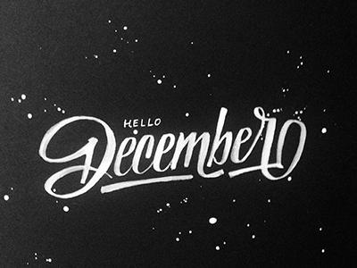 December dark star hello splatter december black white ink bw brush typography lettering