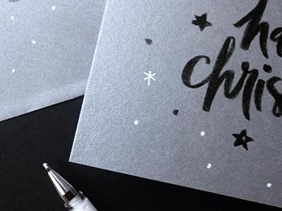 Sneak peek – Christmas card festive winter hand lettering happy snowflake star christmas xmas silver brush typography lettering