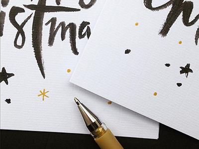 Sneak peek – Christmas card 2 festive winter hand lettering happy snowflake star christmas xmas card brush typography lettering