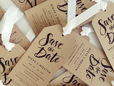 Save the Date stationery italy hand lettering tuscany rustic craft save the date wedding tag brush typography lettering