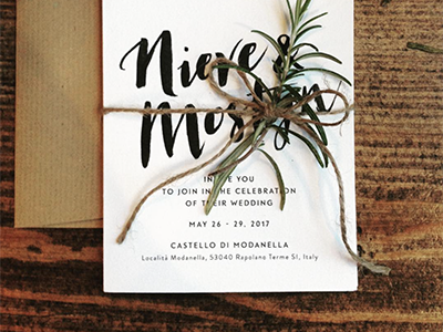 Wedding Invite stationery italy hand lettering tuscany rustic craft rosemary wedding invite brush typography lettering