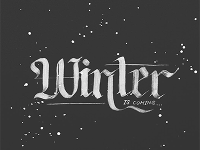 Winter dark star hello splatter winter black white ink bw brush typography lettering