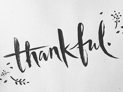 Thankful handlettering thanksgiving bold splatter thankful black ink bw brush typography lettering