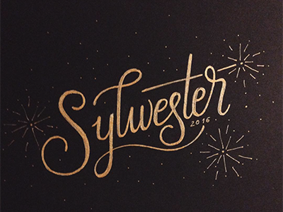 Sylwester festive winter hand lettering happy party fireworks sylvester new years eve gold monoline typography lettering