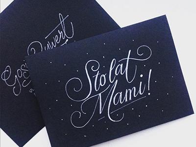 Birthday Card festive winter hand lettering sto lat elegant ink bw birthday card script typography lettering