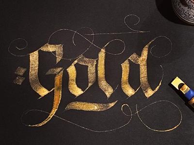 Gold blackandgold pen parallel blackletter bold calligraphy lettering typography ink gold