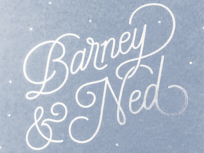 Barney & Ned blue silver foil poster calligraphy handlettering boy baby twins ned barney lettering