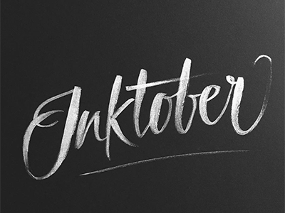 Inktober challenge october handlettering calligraphy expressive brush bw ink white black lettering inktober