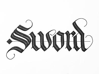 Sword white black silver blackandwhite bw handlettering calligraphy bold blackletter sword lettering