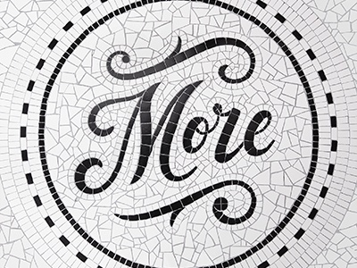 More now! white black handlettering ambigram lettering typography now more tiles bw mosaics mosaic