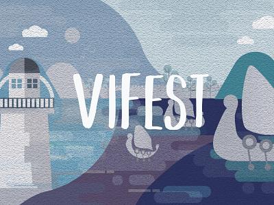 Vifest Illustration design flat illustration flat illustration festival longboat lighthouse artwork vikings viking illustration art illustrations