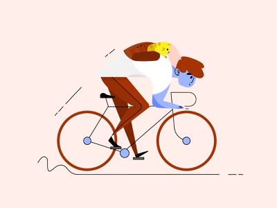 Bike character design people cyclist pet cycling boy 2d illustration backpack wheels cat character bicycle bike