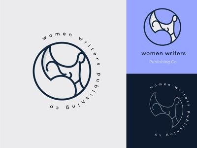 Women Writers Logo girl quote logo variations branding circle logo circle women woman logo design logo