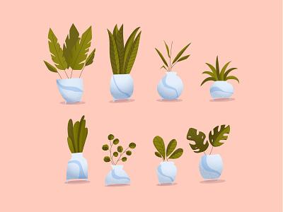Plants leaves leaf botanical illustration botanical greens green pots vases plants illustration