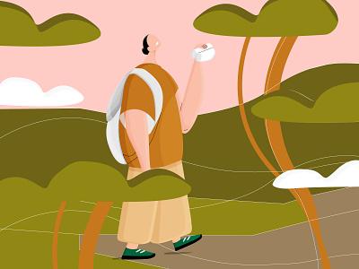 Trail Walker woman hiker clouds binocular trees forrest woods character design character walker illustration