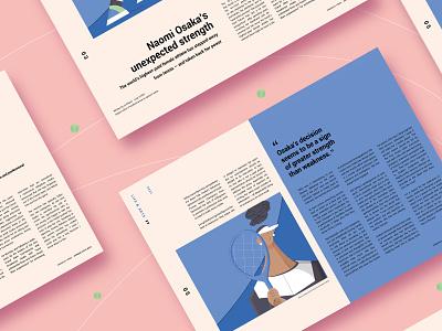 Magazine Article type blue article illustration naomi osaka athlete tennis sport modern page print publication magazine spread typography collumn design layout graphic design magazine editorial