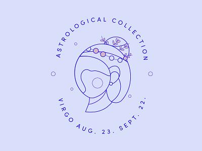 Virgo Logo typography stamp illustration crown girl woman horoscope constellation outline minimal lineart line star signs zodiac virgo astrology branding logo