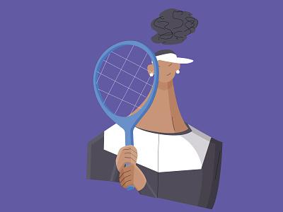 Naomi Osaka - Illustration design minimal sport athlete girl woman character 2d flat simple artwork game ball racket match tennis portrait illustration naomi osaka