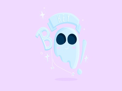 Hey Boo! flat character pink october hand lettering illustrator ghoul lettering boo stars spider haunt typography type illustration blue cute halloween spooky ghost