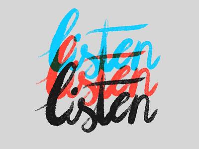 Listen poster ipadpro procreateapp procreate calligraphy