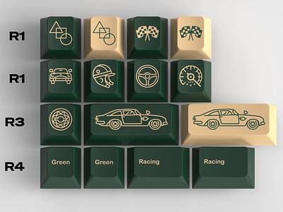 GMk British Racing Green - Keycaps speedometer helmet flag cars racing green mechanical keyboard keyboards illustration keycaps icon