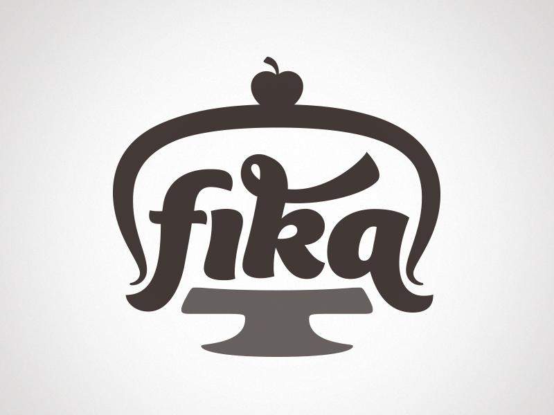 Fika logo design lettering fika cake love cuteness cadmo design