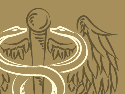 Snakes and Wings illustration wip logo design