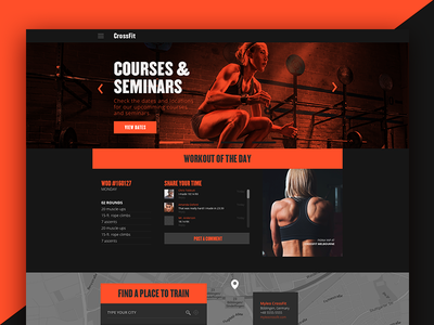 Crossfit Redesign workout dark orange crossfit prototype layout web ui redesign