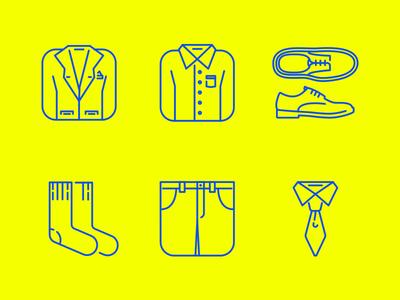 Clothing icon set illustration socality yellow socks shirt tie shoes clothing icon icon design