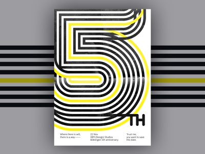 Poster: 5th anniversary typography number 5 poster