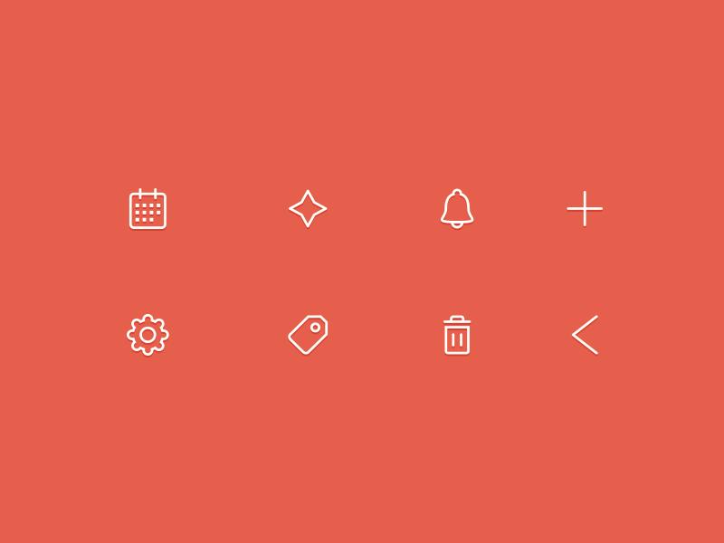 Notes App icons cadmo design star arrow plus ui icons icon design outline minimal flat design calendar trash bell tag settings