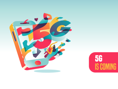 5g is coming to town connection connecting high-speed internet cellular 5g illustration
