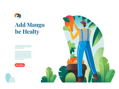 Mango, who loves it hero banner web branding design affinitydesigner agriculture vector illustration landing page mango