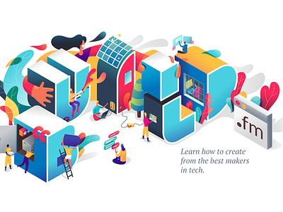 build.fm graphic startup app web webillustration uidesigner lettering typography layout icon uidesign ui ux branding affinitydesigner design illustration vector isometric landing page