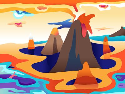 20191101 224811 affinitydesigner illustration volcano
