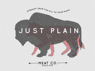 Just Plain Meat Co. retro adobe design logo branding food meat illustrator