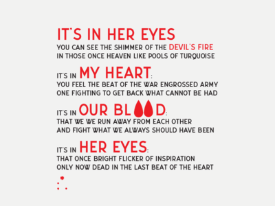 It's in Her Eyes poem eyes blood fonts typography design heart writing